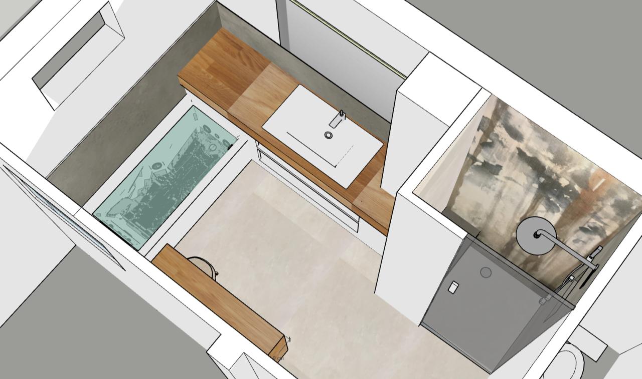 plan 3D optimisation de salle de bain