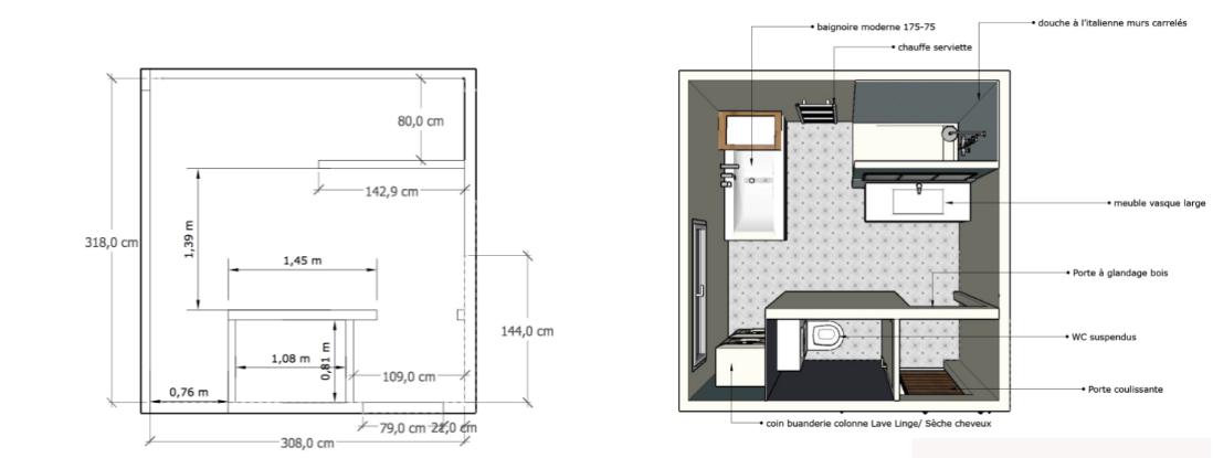 plan 2D salle de bain